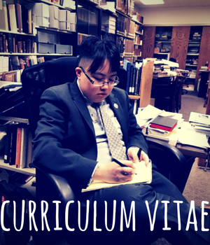 Curriculum Vitae. image of young east asian person writing in notepad, in western business suit