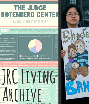 JRC Living Archive. two images, showing detailed infographic on JRC with full caption in text on page; and young east asian person protesting with hand-drawn sign.