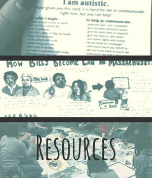 Resources. three images, showing emergency disclosure cards, illustrated lawmaking process, and Diversability art night