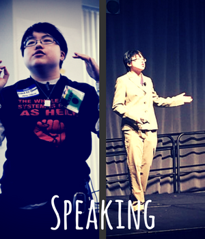 Speaking. two images, showing young east asian person speaking at Boston Disability Intersectionality Summit with t-shirt saying the whole damn system is guilty as hell; and at PEAK Parent Center Conference on Inclusive Education, in western business suit